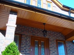 Light oak tongue and groove soffit