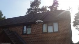 Recent installation of rosewood UPVC fascias soffits gable end and brown square line guttering on a semi detached property Bordon