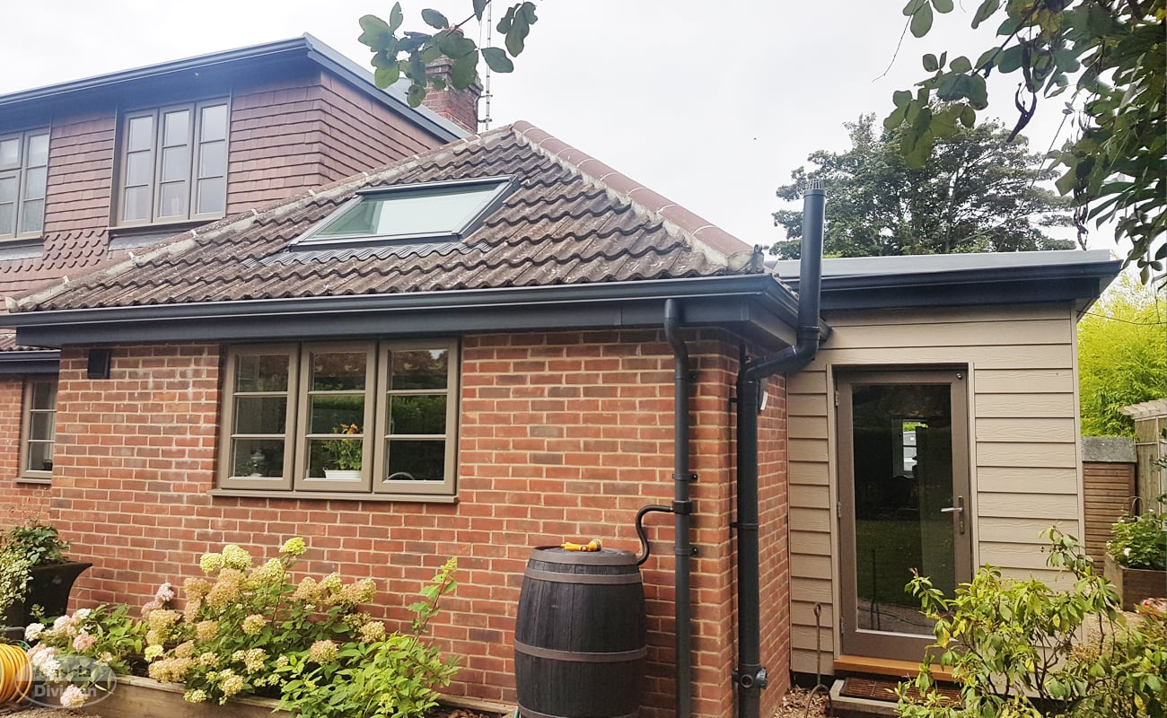 Grey fascias and soffits with seamless guttering